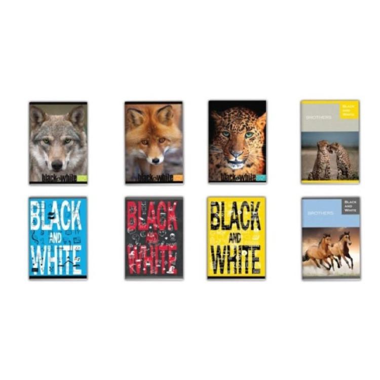 Тетрадка Black and White А5, 56 листа, ред, офсет